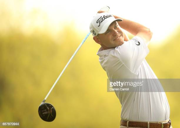 Bill Haas tees off on the 3rd hole of his match during the semifinals of the World Golf ChampionshipsDell Technologies Match Play at the Austin...