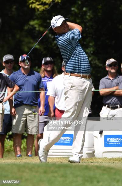 Bill Haas tees off on the 6th hole during the first round of the Wyndham Championship on August 18 2017 at Sedgefield Country Club in Greensboro NC