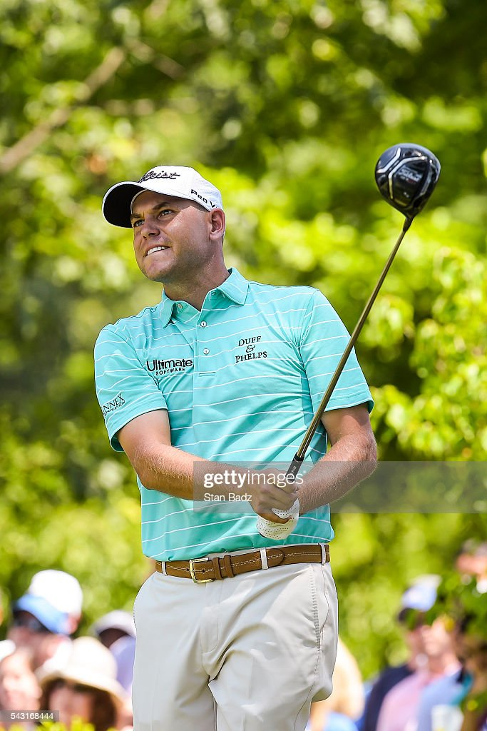 <a gi-track='captionPersonalityLinkClicked' href=/galleries/search?phrase=Bill+Haas&family=editorial&specificpeople=646978 ng-click='$event.stopPropagation()'>Bill Haas</a> tees off on the first hole during the final round of the Quicken Loans National at Congressional Country Club (Blue) on June 26, 2016 in Bethesda, Maryland.