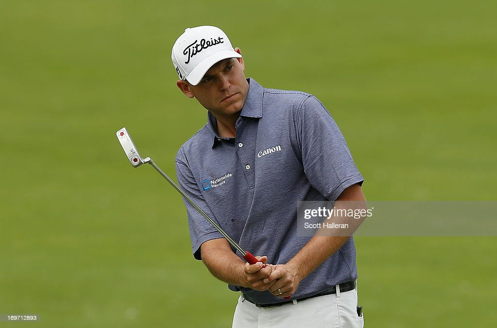 <a gi-track='captionPersonalityLinkClicked' href=/galleries/search?phrase=Bill+Haas&family=editorial&specificpeople=646978 ng-click='$event.stopPropagation()'>Bill Haas</a> watches his birdie attempt on the 13th hole during the second round of the Memorial Tournament presented by Nationwide Insurance at Muirfield Village Golf Club on May 31, 2013 in Dublin, Ohio.