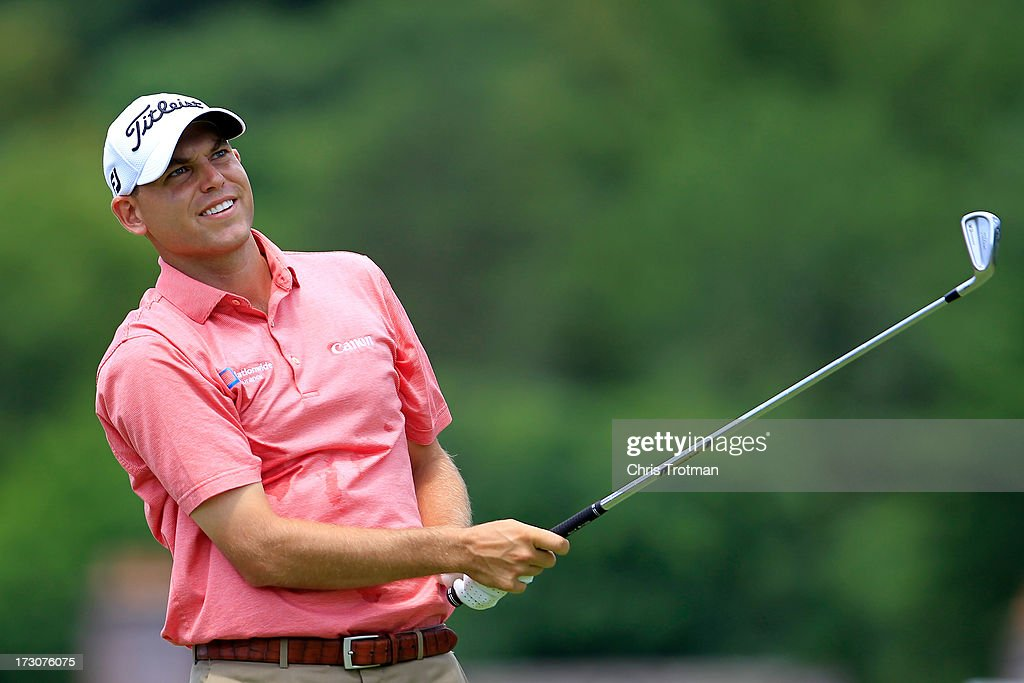 Bill Haas watches his tee shot on the third hole during round three of the Greenbrier Classic at the Old White TPC on July 6, 2013 in White Sulphur Springs, West Virginia.
