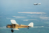 Bill Hackbarth flies over the nations capitol as he completes a 19 day transcontinental flight in a 1918 DeHavilland biplane in commemoration of the...
