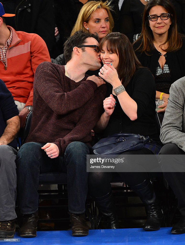 <a gi-track='captionPersonalityLinkClicked' href=/galleries/search?phrase=Bill+Hader&family=editorial&specificpeople=757145 ng-click='$event.stopPropagation()'>Bill Hader</a> and <a gi-track='captionPersonalityLinkClicked' href=/galleries/search?phrase=Maggie+Carey&family=editorial&specificpeople=10102217 ng-click='$event.stopPropagation()'>Maggie Carey</a> attend the San Antonio Spurs vs New York Knicks game at Madison Square Garden on January 3, 2013 in New York City.