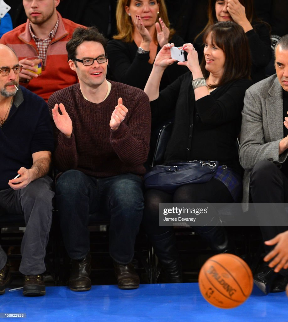 <a gi-track='captionPersonalityLinkClicked' href=/galleries/search?phrase=Bill+Hader&family=editorial&specificpeople=757145 ng-click='$event.stopPropagation()'>Bill Hader</a> and Maggie Carey attend the San Antonio Spurs vs New York Knicks game at Madison Square Garden on January 3, 2013 in New York City.