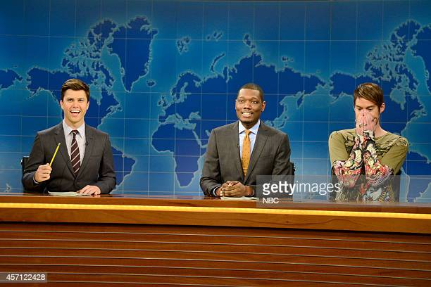 LIVE 'Bill Hader' Episode 1665 Pictured Colin Jost Michael Che and Bill Hader as Stefon during Weekend Update on October 11 2014