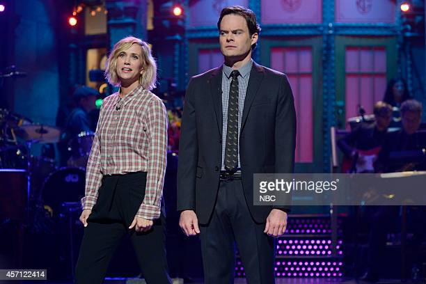 LIVE 'Bill Hader' Episode 1665 Pictured Kristen Wiig and Bill Hader during the monologue on October 11 2014