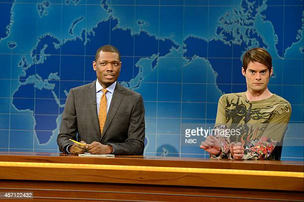 LIVE 'Bill Hader' Episode 1665 Pictured Michael Che and Bill Hader as Stefon during Weekend Update on October 11 2014