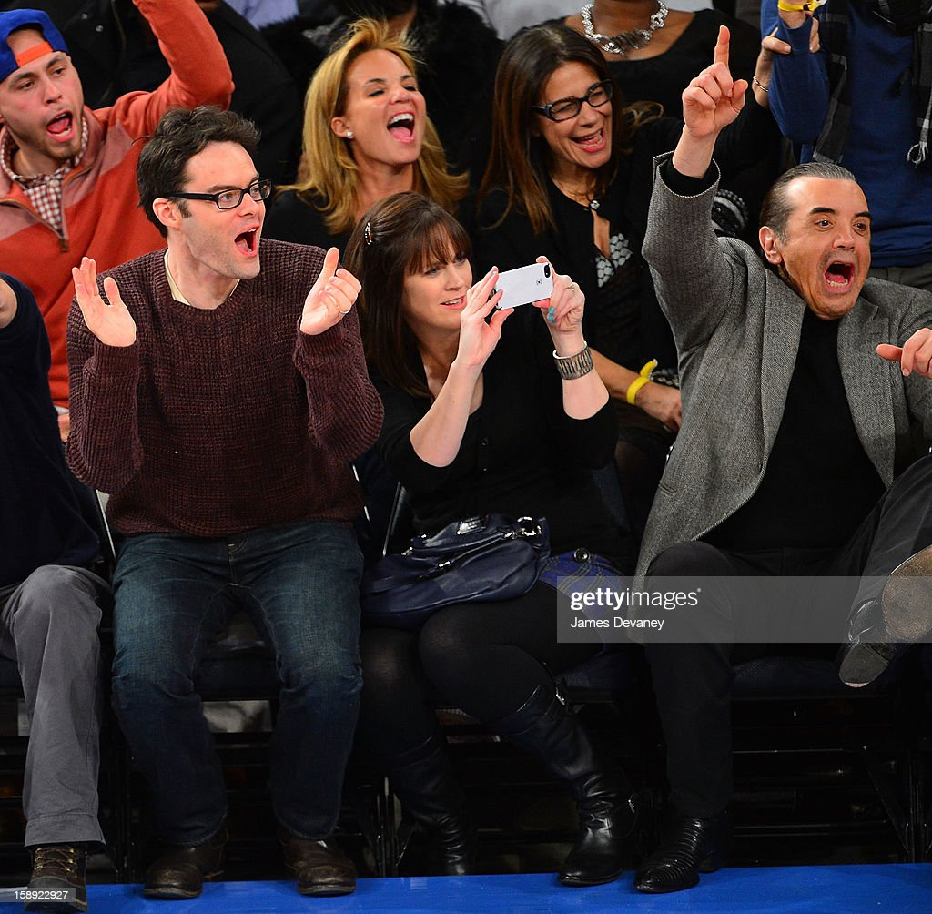 <a gi-track='captionPersonalityLinkClicked' href=/galleries/search?phrase=Bill+Hader&family=editorial&specificpeople=757145 ng-click='$event.stopPropagation()'>Bill Hader</a>, Maggie Carey and <a gi-track='captionPersonalityLinkClicked' href=/galleries/search?phrase=Chazz+Palminteri&family=editorial&specificpeople=211446 ng-click='$event.stopPropagation()'>Chazz Palminteri</a> attend the San Antonio Spurs vs New York Knicks game at Madison Square Garden on January 3, 2013 in New York City.