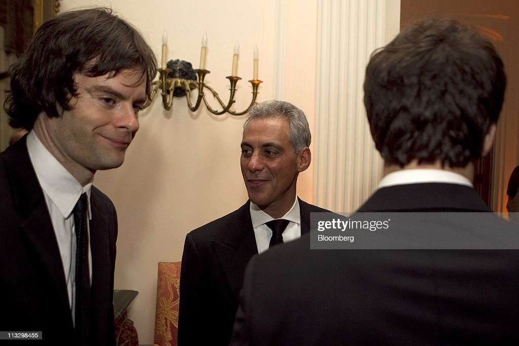 <a gi-track='captionPersonalityLinkClicked' href=/galleries/search?phrase=Bill+Hader&family=editorial&specificpeople=757145 ng-click='$event.stopPropagation()'>Bill Hader</a> of 'Saturday Night Live,' left, and <a gi-track='captionPersonalityLinkClicked' href=/galleries/search?phrase=Rahm+Emanuel&family=editorial&specificpeople=753774 ng-click='$event.stopPropagation()'>Rahm Emanuel</a>, mayor-elect of Chicago, center, attend the Bloomberg Vanity Fair White House Correspondents' Association (WHCA) dinner afterparty in Washington, D.C., U.S., on Saturday, April 30, 2011. The dinner raises money for WHCA scholarships and honors the recipients of the organization's journalism awards. Photographer: Andrew Harrer/Bloomberg via Getty Images