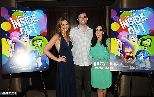 Bill Hader poses with The Moms Denise Albert and Melissa Musen Gerstein at The Moms 'Inside Out' Mamazzi Event With Bill Hader at Dolby Screening...