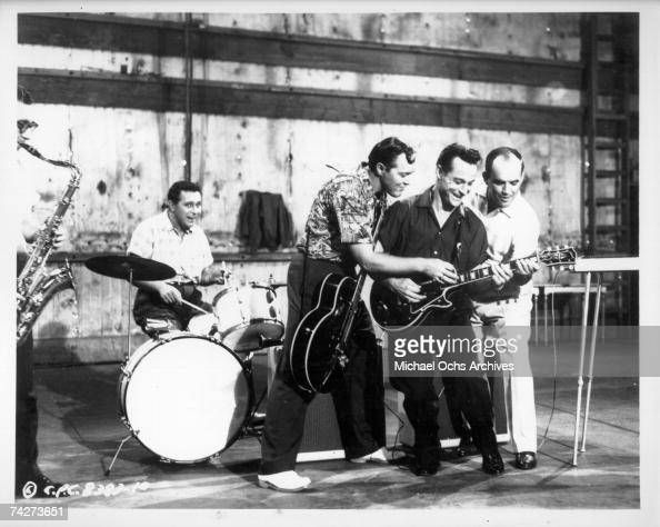 Bill Haley and His Comets perform in the Columbia Pictures film 'Don't Knock the Rock' in 1956 in Los Angeles California