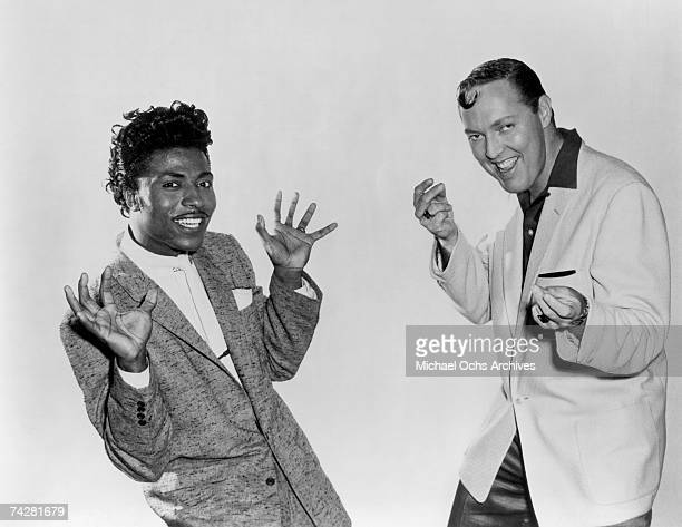 Bill Haley and Little Richard pose for a publicity portrait for the Columbia Pictures film 'Don't Knock the Rock' in 1956 in Los Angeles California