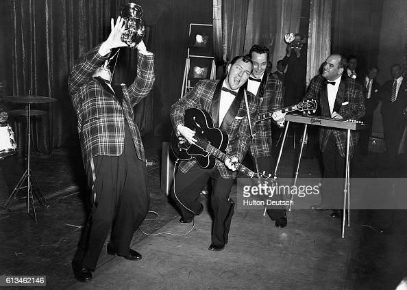 Bill Haley and The Comets at a rehearsal in London's Dominion Cinema February 6 1957 | Location Dominion Cinema London England UK