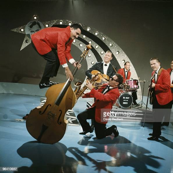 Bill Haley His Comets featuring Al Rappa stading on his double bass perform on Thank Your Lucky Stars TV show at Aston Studios in September 1964 in...