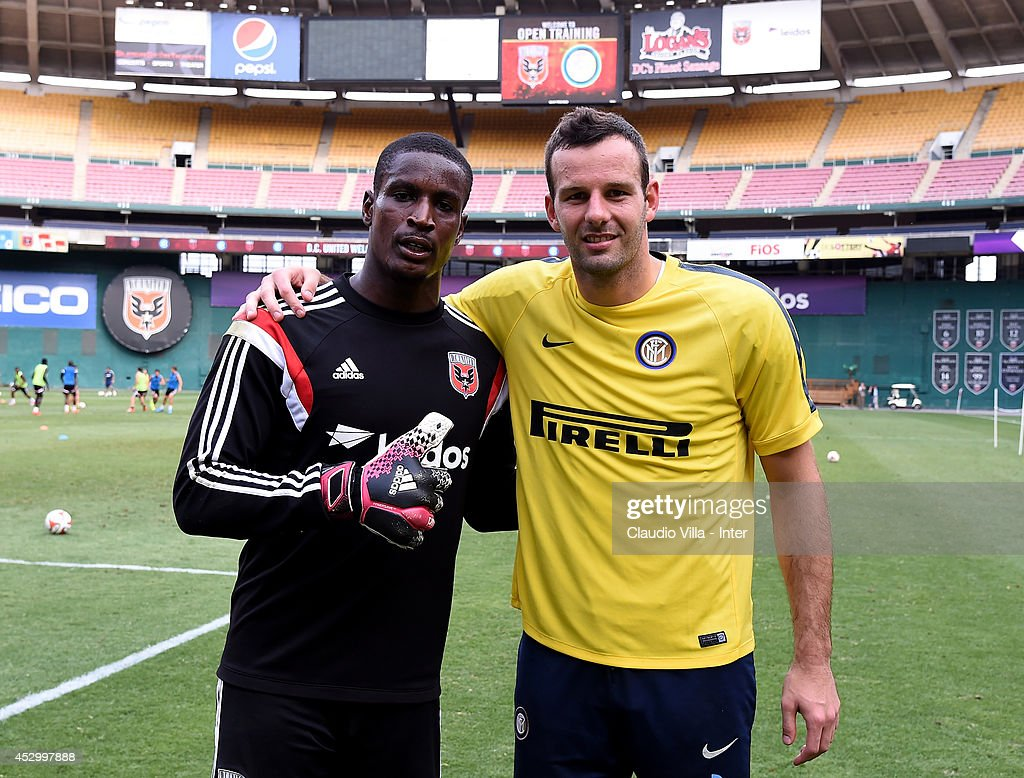 <a gi-track='captionPersonalityLinkClicked' href=/galleries/search?phrase=Bill+Hamid&family=editorial&specificpeople=4417249 ng-click='$event.stopPropagation()'>Bill Hamid</a> of DC United and Samir Handanovic of Internazionale Milano during training session at RFK Stadium of America on July 31, 2014 in Washington, United States.
