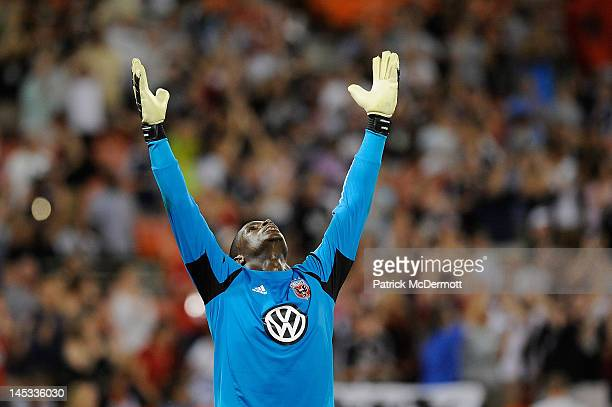 Bill Hamid of DC United celebrates after defeating the New England Revolution 32 at RFK Stadium on May 26 2012 in Washington DC