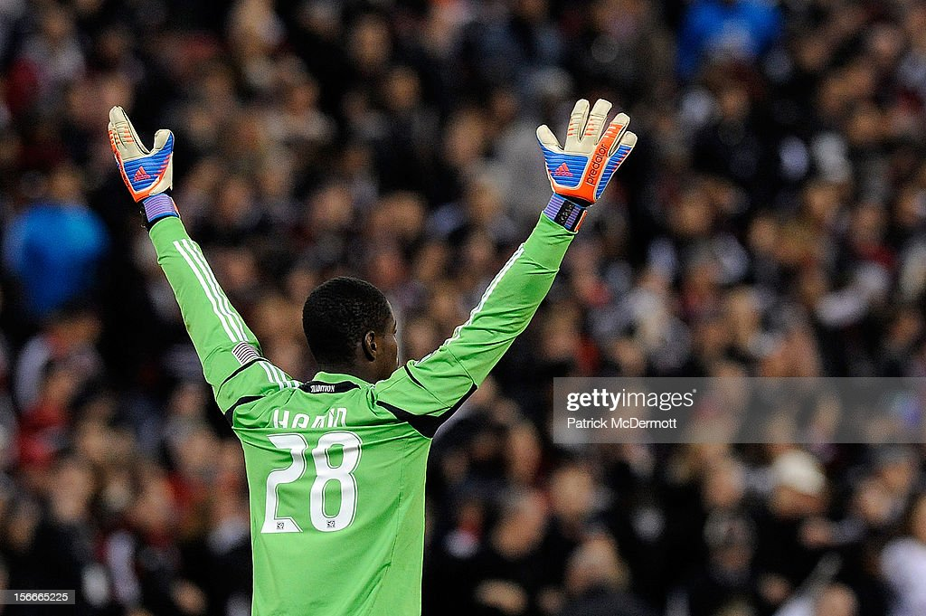 Bill Hamid #28 of D.C. United reacts after a call in the second half against the Houston Dynamo during leg 2 of the Eastern Conference Championship at RFK Stadium on November 18, 2012 in Washington, DC.