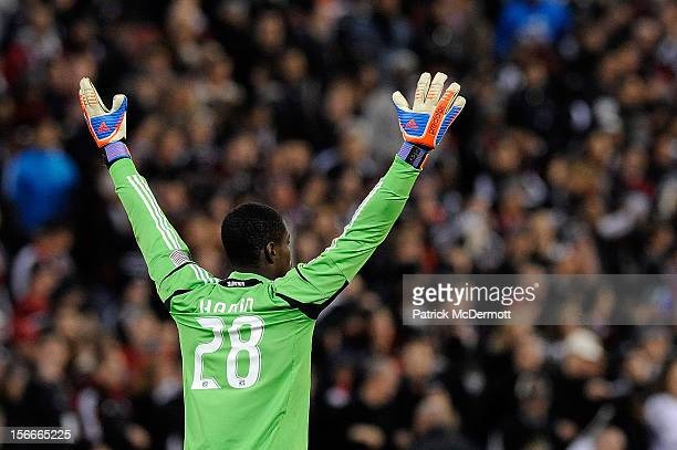 Bill Hamid of DC United reacts after a call in the second half against the Houston Dynamo during leg 2 of the Eastern Conference Championship at RFK...