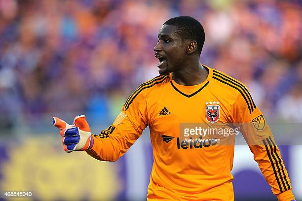 Bill Hamid of DC United yells instructions to his team during a MLS soccer match between DC United and the Orlando City SC at the Orlando Citrus Bowl...