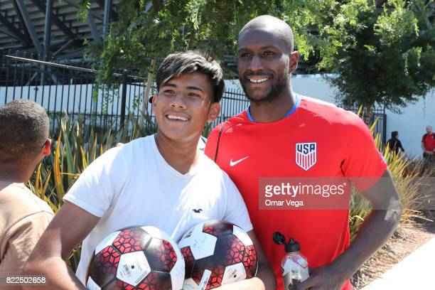 Bill Hamid of United States poses for photos with the fans after the United States National Team training session prior to the final match against...