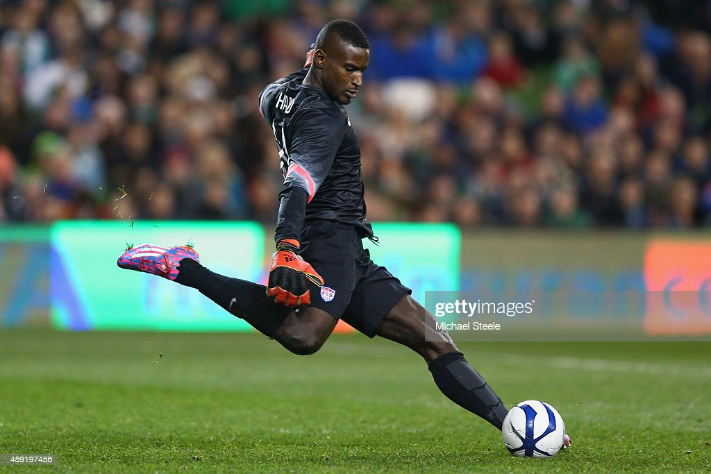 <a gi-track='captionPersonalityLinkClicked' href=/galleries/search?phrase=Bill+Hamid&family=editorial&specificpeople=4417249 ng-click='$event.stopPropagation()'>Bill Hamid</a> of USA during the International Friendly match between the Republic of Ireland and USA at the Aviva Stadium on November 18, 2014 in Dublin, Ireland.