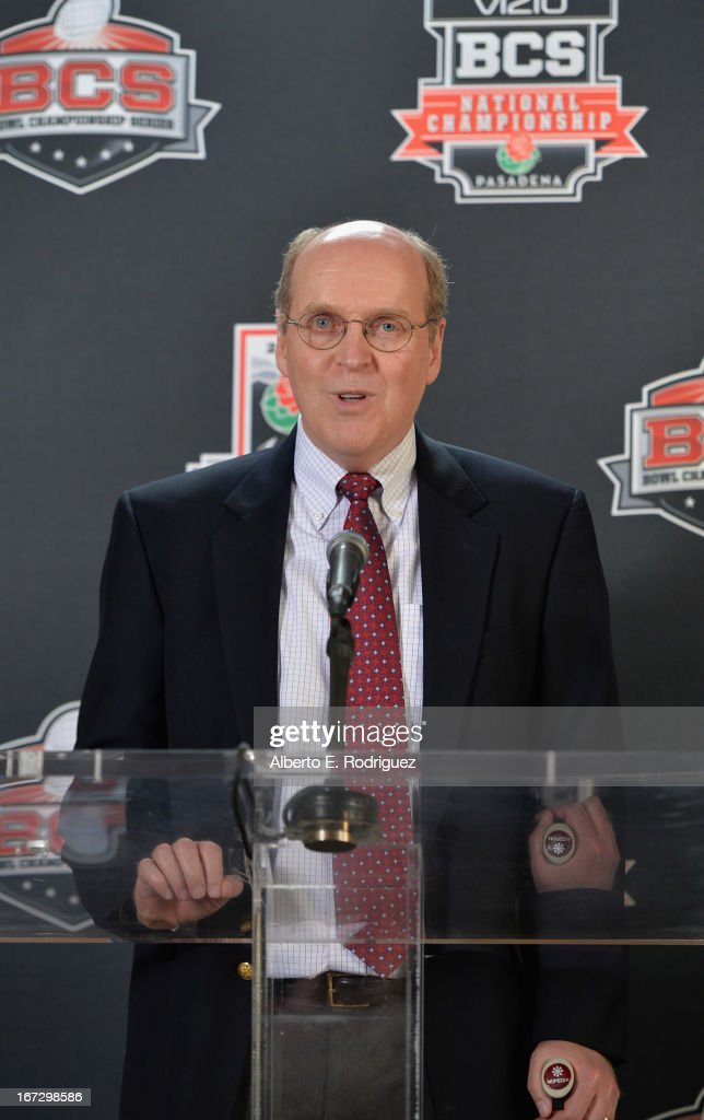 Bill Hancock, executive director of BCS, attends the 100th Rose Bowl Game press conference at Rose Bowl on April 23, 2013 in Pasadena, California.