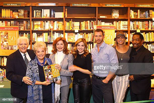 Bill Hayes Susan Hayes Suzanne Rodgers Jen Lilley Eric Martsolf Arianne Zucker and James Reynolds before the book signing commemorating the 50th...