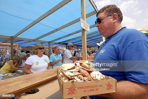 Bill Johnson enjoys some bluecrabs during the 30th annual J Millard Tawes Crab and Clam Bake in Crisfield Maryland