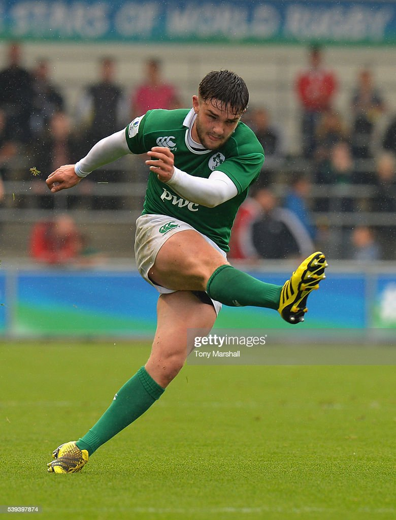 Bill Johnston of Ireland kicks during the World Rugby U20 Championship match between New Zealand and Ireland at The Academy Stadium on June 11, 2016 in Manchester, England.