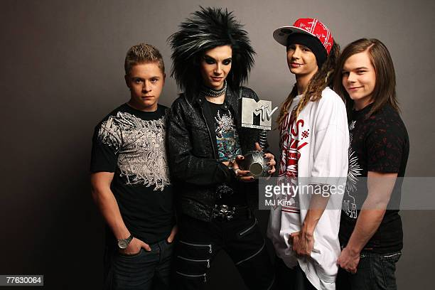 Bill Kaulitz and Tokio Hotel pose in the studio during the MTV Europe Music Awards 2007 at the Olympiahalle on November 1 2007 in Munich Germany