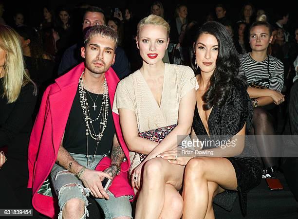 Bill Kaulitz Franziska Knuppe and Rebecca Mir attends the Maybelline Hot Trendsxhbition 2017 show during the MercedesBenz Fashion Week Berlin A/W...