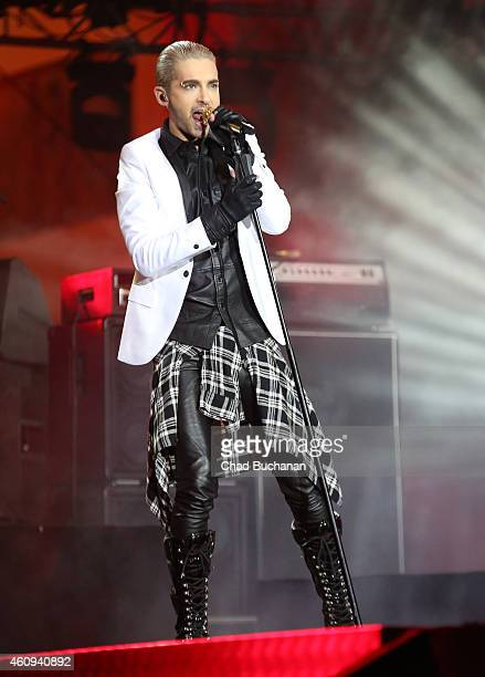 Bill Kaulitz of the band Tokio Hotel performs at the Brandenburg Gate New Years Eve Party on December 31 2014 in Berlin Germany