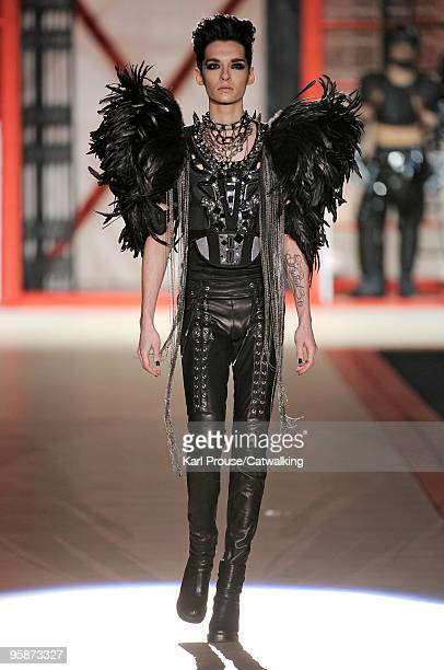 Bill Kaulitz of Tokio Hotel walks the runway during the DSquared2 Milan Menswear Autumn/Winter 2010 show on January 19 2010 in Milan Italy