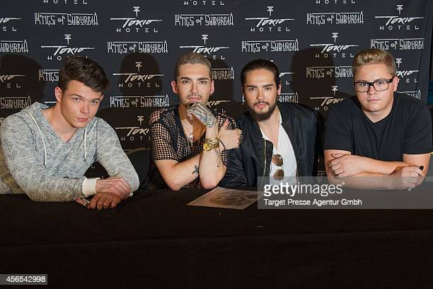 Bill Kaulitz Tom Kaulitz Gustav Schaefer and Georg Listing attend the Tokio Hotel Press conference and photocall at Babylon on October 2 2014 in...