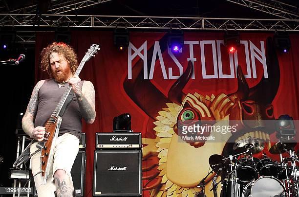 Bill Kelliner of Mastadon performs on stage during Soundwave 2012 at the Sydney Showground on February 26 2012 in Sydney Australia