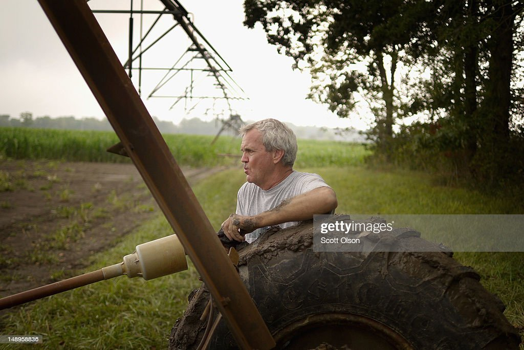 Bill Kirklin repairs an irrigation system in his cornfield on July 20, 2012 near Whiteland, Indiana. Kirklin and his brother Jud Vaught, who are 6th generation Indiana farmers, raise about 1,500 acres of corn and soybeans on a farm founded by their family in 1835. The corn and soybean belt in the middle of the nation is experiencing one of the worst droughts in more than five decades. Indiana was the nation's fourth largest corn producer in 2011.