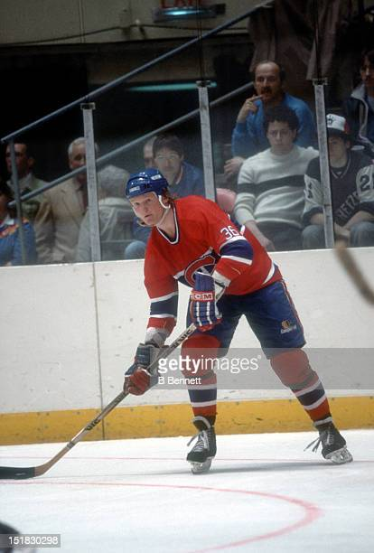 Bill Kitchen of the Montreal Canadiens looks to pass during an NHL game against the New York Islanders on March 27 1984 at the Nassau Coliseum in...