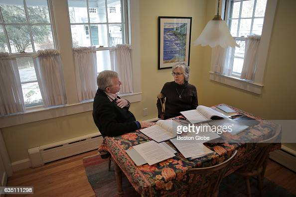Bill Knuff of Groton Neighbors talks with Liz Strachan in her home in Groton MA about policies and the responsibilities of volunteering for the...