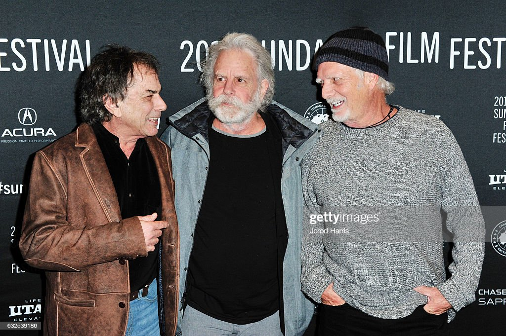 Bill Kreutzmann, Bob Weir and Mickey Hart arrive at the 'Long Strange Trip' Premiere at Yarrow Hotel Theater on January 23, 2017 in Park City, Utah.