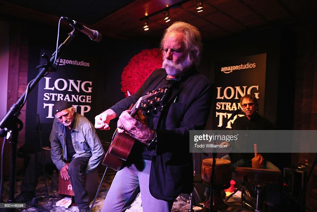 Bill Kreutzmann, Bob Weir, and Mickey Hart perform onstage during the Amazon Studios celebration of 'Long Strange Trip' at the 2017 Sundance Film Festival, featuring a performance by Mickey Hart, Bill Kreutzmann, and Bob Weir, on January 22, 2017 in Park City, Utah.