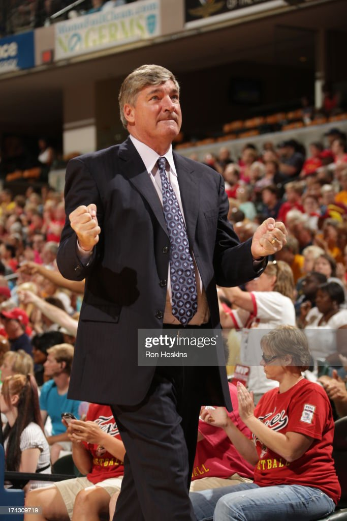 <a gi-track='captionPersonalityLinkClicked' href=/galleries/search?phrase=Bill+Laimbeer&family=editorial&specificpeople=213835 ng-click='$event.stopPropagation()'>Bill Laimbeer</a>, head coach and general manager of the New York Liberty reacts as the Liberty come from behind to defeat the Indiana Fever on July 23, 2013 at Bankers Life Fieldhouse in Indianapolis, Indiana.