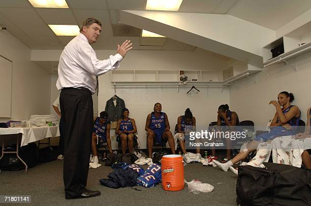 Bill Laimbeer head coach of the Detroit Shock addresses his team in the locker room after defeating the Sacramento Monarchs during Game Four of the...