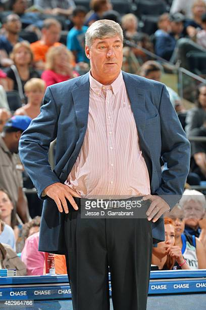 Bill Laimbeer head coach of the New York Liberty looks on during the game against the Seattle Storm on August 2 2015 in New York New York NOTE TO...