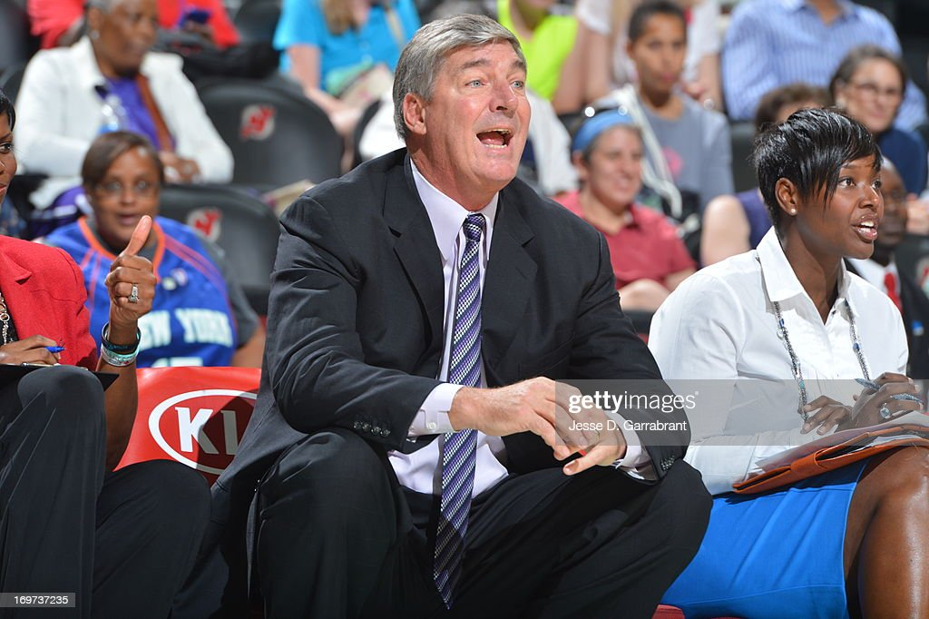 <a gi-track='captionPersonalityLinkClicked' href=/galleries/search?phrase=Bill+Laimbeer&family=editorial&specificpeople=213835 ng-click='$event.stopPropagation()'>Bill Laimbeer</a>, Head Coach of the New York Liberty reacts during the game against the Tulsa Shock on May 31, 2013 at Prudential Center in Newark, New Jersey.