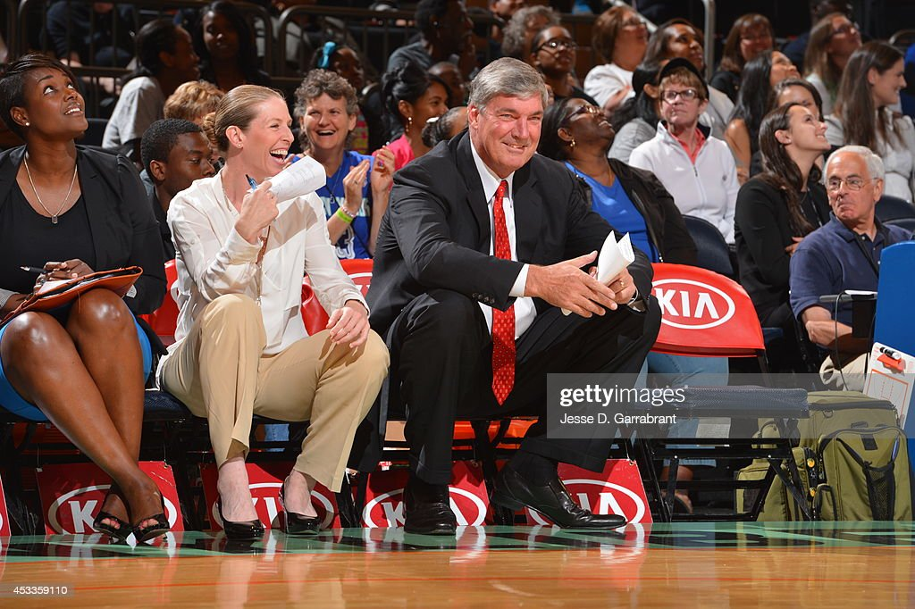 <a gi-track='captionPersonalityLinkClicked' href=/galleries/search?phrase=Bill+Laimbeer&family=editorial&specificpeople=213835 ng-click='$event.stopPropagation()'>Bill Laimbeer</a> head coach of the New York Liberty smiles against the Connecticut Sun during the game on August 8, 2014 at Madison Square Garden in New York, New York.