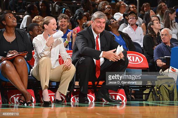Bill Laimbeer head coach of the New York Liberty smiles against the Connecticut Sun during the game on August 8 2014 at Madison Square Garden in New...