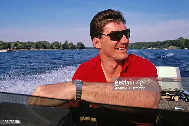 Bill Laimbeer of the Detroit Pistons drives his boat circa 1987 at the Great Western Forum in Inglewood California NOTE TO USER User expressly...