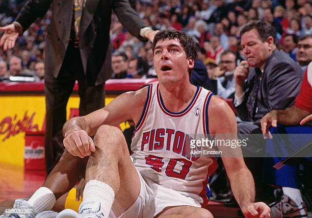 Bill Laimbeer of the Detroit Pistons looks on circa 1990 at the Palace of Auburn Hills in Auburn Hills Michigan NOTE TO USER User expressly...