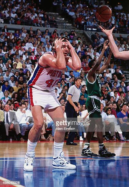 Bill Laimbeer of the Detroit Pistons reacts against the Boston Celtics circa 1990 at the Palace of Auburn Hills in Auburn Hills Michigan NOTE TO USER...