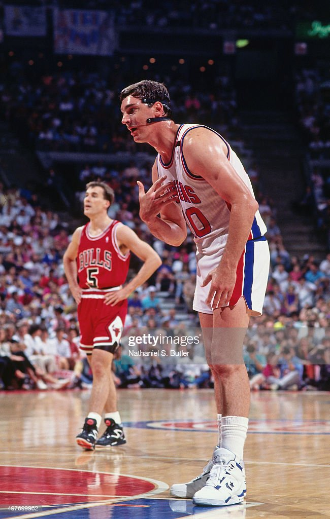 <a gi-track='captionPersonalityLinkClicked' href=/galleries/search?phrase=Bill+Laimbeer&family=editorial&specificpeople=213835 ng-click='$event.stopPropagation()'>Bill Laimbeer</a> #40 of the Detroit Pistons reacts against the Chicago Bulls circa 1990 at the Palace of Auburn Hills in Auburn Hills, Michigan.